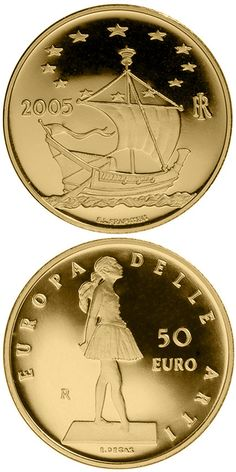 N♡T.50 euro: Europe of the Arts - Edgar Degas - France.Country:Italy  Mintage year:2005 Face value:50 euro Diameter:28.00 mm Weight:16.12 g Alloy:Gold Quality:Proof Mintage:2,300 pc proof