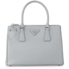 Prada Saffiano Lux Double-Zip Tote Bag (29.207.405 IDR) ❤ liked on Polyvore featuring bags, handbags, tote bags, purses, accessories, light grey, detachable key ring, prada handbags, leather tote purse and tote handbags