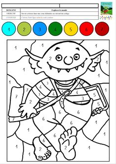 Le petit ogre veut aller à l'école : coloriage magique avec des chiffres de 1 à 7 – MC en maternelle