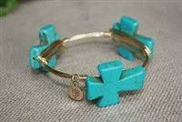 $28.99 Turquoise Cross Stone on a gold wired bracelet http://piperlillies.com