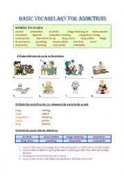 English worksheet: Addictions - Basic Vocabulary