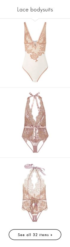 """Lace bodysuits"" by chiaral95 ❤ liked on Polyvore featuring intimates, shapewear, bodysuit, underwear, lingerie, bodysuits, agent provocateur, pink, open back body suit and body suit"
