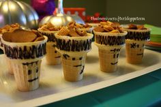 Frankencones?  Super easy party food, just fill with Chex Mix... The Obsessive Crafter: Isabel's Monster Bash Part 3: Food