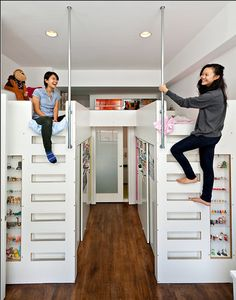 [Tomoko and Kimio Akiyoshi's NoHo Bento Box Apartment - daughters Sora and Umi Akiyoshi's Loft Beds with Walk-in Closets Underneath by Mishi Hosono and Adam Weintraub of Koko Architecture and Design] an effective solution for those who want walk-in closets but live in a cramped space