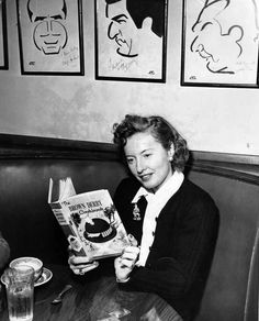 """READ THE BOOK - Barbara Stanwyck reads """"The Brown Derby Cookbook"""" at the Brown Derby restaurant in Hollywood. Hooray For Hollywood, Golden Age Of Hollywood, Hollywood Stars, Classic Hollywood, Girl Reading, Reading Time, Reading Books, Barbara Stanwyck Movies, Nerdy Nummies Cookbook"""