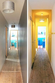 Un joli couloir / entrée, avec son parquet peint en tons de bleu ...