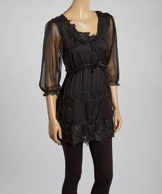 Another great find on #zulily! Black Lace Tie-Waist Silk-Blend Tunic by Pretty Angel #zulilyfinds