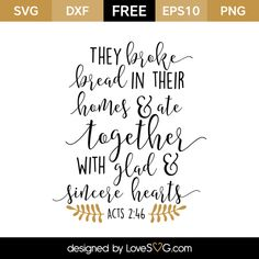 *** FREE SVG CUT FILE for Cricut, Silhouette and more *** Acts 2:46