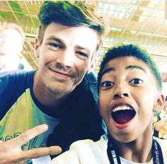 Grant Gustin with a fan <------ The little boy if from blackish