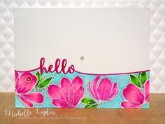SSS Spring Flowers; hello die; word die; pink blue; vibrant