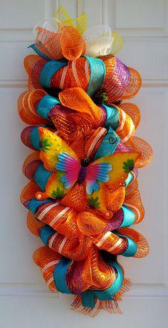 Orange Metallic Butterfly Summer Mesh Swag/Wreath by dottiedot05, $45.00