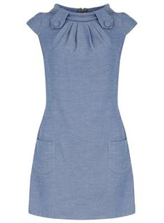 Denim tab shift dress