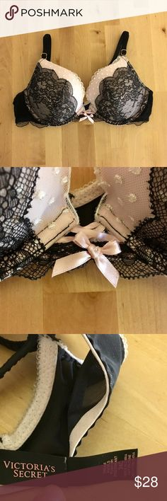 Victoria's Secret push up bra Gorgeous light pink VS bra with beautiful black and white lace detail. Only worn a few times. In great condition. Offers accepted. Use the bundle feature and save! Victoria's Secret Intimates & Sleepwear Bras