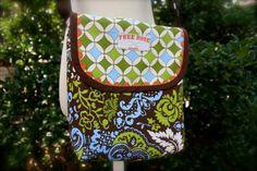 Brown/Green/Blue Messenger Crossbody Bag Purse. Holds iPad. by FreeRoseStudio