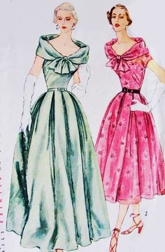 1950s Glamorous Evening Gown Cocktail Dress Pattern Simplicity 8394 Flattering Portrait Collar Soft Pleated skirt Bust 34 Vintage Sewing Pattern