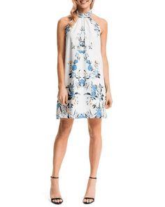 5231b35564c1c7 Cynthia Steffe   Monte Floral-Print Halter Sheath Dress, Lily White  #CynthiaSteffe #