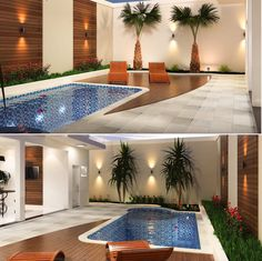 16 Ideas exterior renovation modern landscaping for 2019 Small Backyard Pools, Backyard Pool Designs, Small Pools, Swimming Pools Backyard, Swimming Pool Designs, Backyard Patio, Kleiner Pool Design, Small Pool Design, Design Exterior