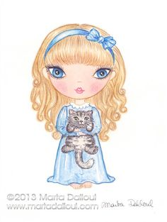 Girl with cat original watercolor art 4.5 x 6 by MartaDalloul, $65.00