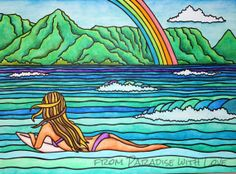 Surfer Girl Art Kauai Hawaii  Hanalei Bay  by FromPARADISEwithLOVE, $30.00