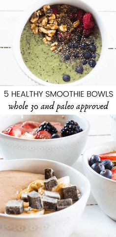 5 healthy smoothie bowls for busy mornings. These 5 healthy smoothie bowl recipes are loaded with nutrition, whole 30 and paleo-approved, sugar-free, gluten-free, and dairy-free. Paleo and whole 30 approved breakfast ideas.#smoothiebowls