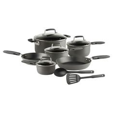 T-fal D914SC64 Flexi-Grip Hard Anodized Oven Safe Nonstick 12-Piece Cookware Set, Black #T-fal12pieceset   #T-falHardAnodizedNonstick12-PieceCookwareSet $99.99