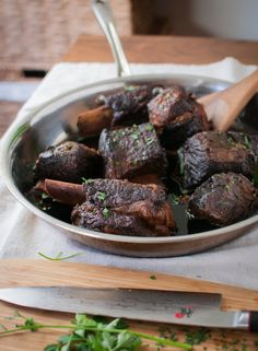 A traditional French preparation of beef short ribs is to braise them slowly in red wine for several hours until the meat is tender and falling off the bone.This is avariation on that theme that substitutes in the intensely sweet & savory flavor profile of Korean galbiwhile still maintaining the technique of the slow braise. The result is beef that...         Read More