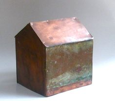 Copper House Sculpture made from Vintage Bar Top out of Baton Rouge.