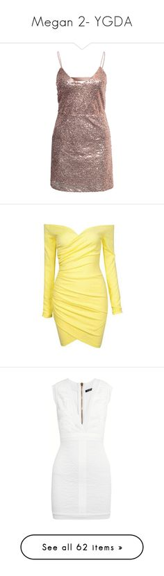 """""""Megan 2- YGDA"""" by inestrindade on Polyvore featuring dresses, rose gold, party dresses, womens-fashion, striped cocktail dress, striped dresses, v neck cocktail dress, stripe dress, sparkly cocktail dresses and yellow"""