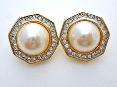 Vintage Pearl Rhinestone Clip Gold Earrings Wedding Jewelry