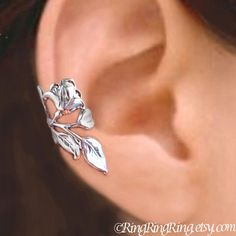 925. Gardenia - Sterling Silver ear cuff earring, Non pierced leaf and flower earcuff jewelry 062813