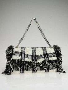 Chanel Black and White Quilted Tweed 2.55 Reissue Fringe Jumbo Flap Bag