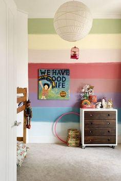 Rainbow striped wall; modern kids bedroom