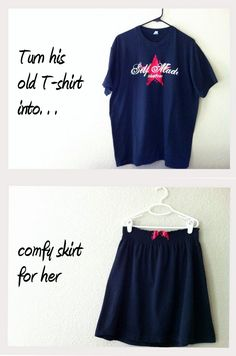 old t shirt into skirt!