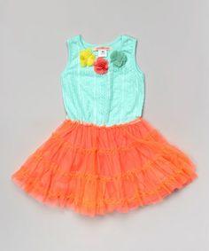 Another great find on #zulily! Mint & Orange Flower Pettidress - Toddler & Girls by Paulinie #zulilyfinds, so cute summery!!!!