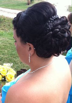 Braid with volume and curls updo