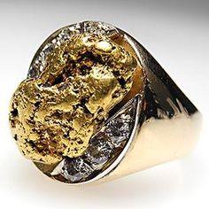 VINTAGE MENS NATURAL GOLD NUGGET & DIAMOND RING HEAVY 10K