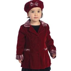 Good Lad Toddler and 4//6X Girls Blue Double Breasted Fleece Coat with Faux Fur Collar Cuff Matching Hat