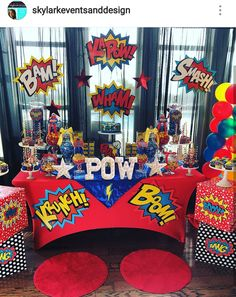 Superhero Wonder girl theme Birthday Party Dessert Table and Decor
