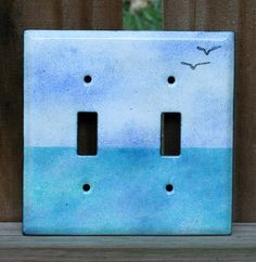 Enameled copper lightswitch cover / Sea double by kickglassenamels, $42.00