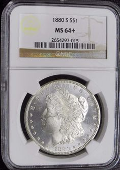 1880 S Morgan Silver Dollar Graded NGC MS 64+ Flashy Proof Like Images $ $1