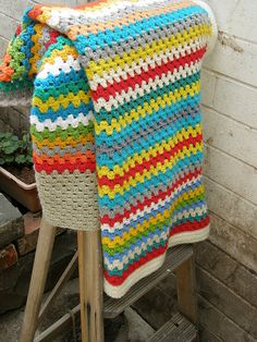 Striped blanket using granny stitch - nice colors