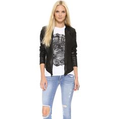 ONE by LAMARQUE Zura Cascade Blazer ($285) ❤ liked on Polyvore featuring outerwear, jackets, blazers, black, leather blazer, blazers jersey, blazer jacket, lightweight jackets and leather lapel blazer