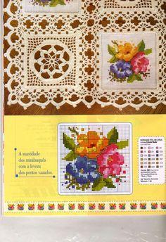 Crochet Knitting Handicraft: Crochet overlap with cloth Crochet Fabric, Crochet Motifs, Crochet Tablecloth, Crochet Squares, Crochet Home, Thread Crochet, Filet Crochet, Diy Crochet, Vintage Crochet
