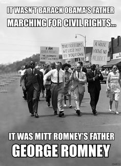 This photo says it all! Romney's dad George (in the white shirt) marching for civil rights... Don't believe what the liberals say about the Romney family. Wake up America, you've been lied to! Vote Romney/Ryan.