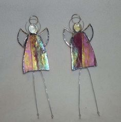 Hand made stained irridescent glass angel - pink - Folksy