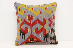 Decorative Kilim pillow cover 14x14 inches by stripepattern
