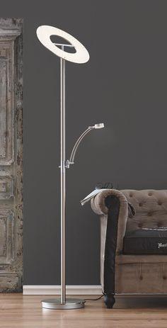 Diese Stehleuchte bereichert Ihre Wohnung mit ihrer trendigen Optik. Das Gestänge besteht aus mattem Metall mit einer vernickelten Oberfläche. Die Leuchte kommt mit 2 eingebauten LED-Leuchtmitteln, die ein modernes Licht verbreiten. Wie praktisch: sie verfügt über einen Tastdimmer und einen schwenkbaren Arm zum bequemen Lesen. Mit der ca. 185 cm hohen Stehleuchte schaffen Sie eine individuelle Stimmung!