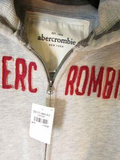Abercrombie Hoodie Girls XL Gray Zip Red Logo Patch Fray Free Shipping | eBay