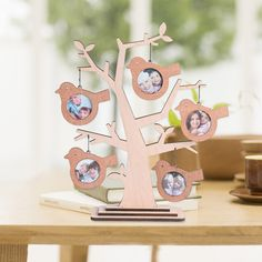 Unique Family Tree Shaped Picture Frame 2x2 with 5 Hanging Photo Wooden Table top Decor