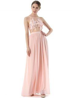 Sleeveless Mesh See Through Evening Maxi Dress